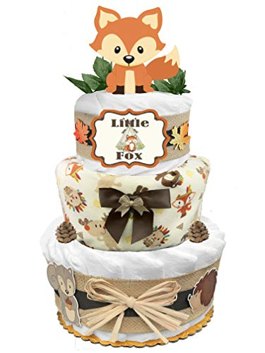 Fox 3-Tier Diaper Cake – Baby Shower Gift for a Boy – Newborn Gift Idea