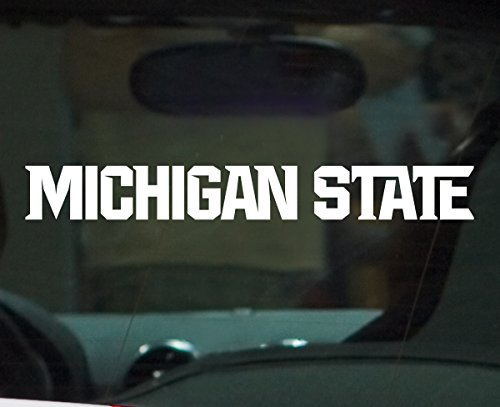 (Nudge Printing Michigan State University Athletic Font Vinyl Car Decal Sticker - White)