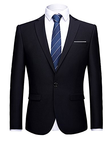 Blazer Black Pinstripe Jacket (WULFUL Men's Suit Blazer Slim Fit One Button Casual Formal Suit Jacket Wedding Tuxedo)