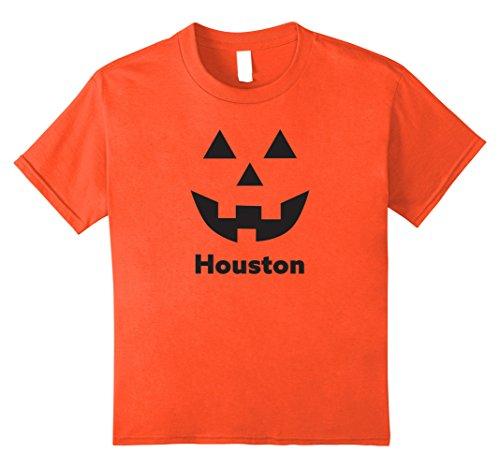 [Kids Houston Jack O' Lantern Pumpkin Halloween T-Shirt 12 Orange] (Party Boy Houston Halloween Costumes)