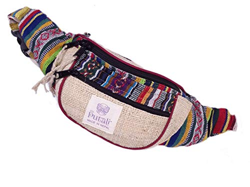 (PUTALI LTD | Woven Hemp Fanny Pack for Men and Women | Adjustable Waist and Secure Pockets | Travel Bag or Running Gear)