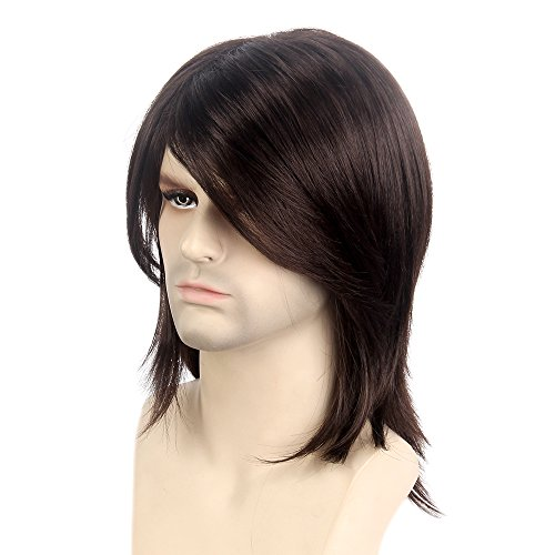 (STfantasy Mens Brown Wig Male Guy Mid Length Long Straight Cosplay Party Hair Toupee)