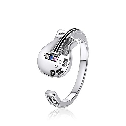 Punk Rock Guitar Ring Sterling Silver Cubic Zirconia Adjustable Wrap Open Ring for Women Men Size 6-12 (Mens Guitar Ring)