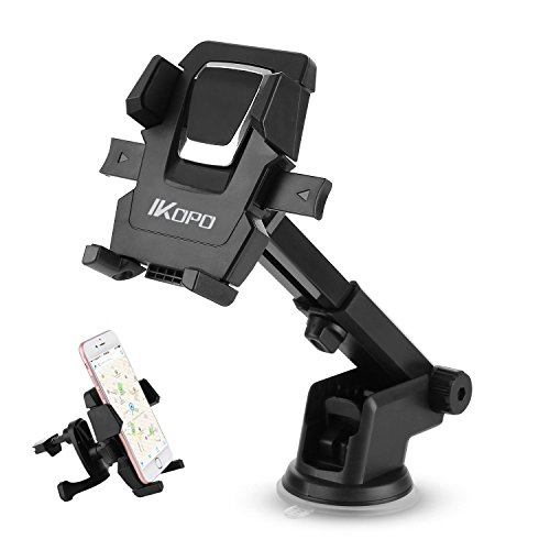 IKOPO 3-in-1 360° Rotating One Touch Car Mount Universal Phone Holder for iPhone 7 Plus 6s Plus SE Samsung Galaxy S8 Edge S7 S6 Note 5(Black)
