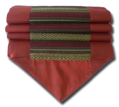 soljo - tablecloth tablerunner table runner linen Thai Silk Elegant precious stripped 200 cm x 30 cm many colors (red) by by soljo