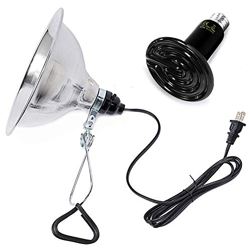 Simple Deluxe PTCLAMCR100M 100W Infrared Ceramic Reptile Heat Lamp Bulb & 150W Clamp Light with 8.5' Aluminum Reflector Combo for Amphibian Pet, Black
