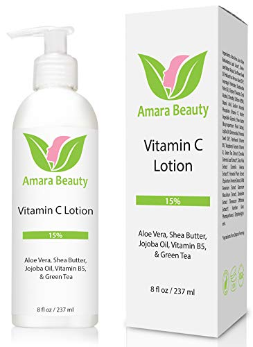 Vitamin C Face & Body Lotion 15% - with Shea Butter & Jojoba Oil - 8 oz (Best Skin Brightening Lotion)