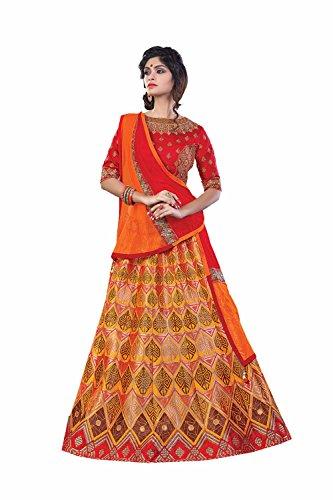 Da Facioun Womens Silk Fabric Yellow Pretty Circular Lehenga Style 80153