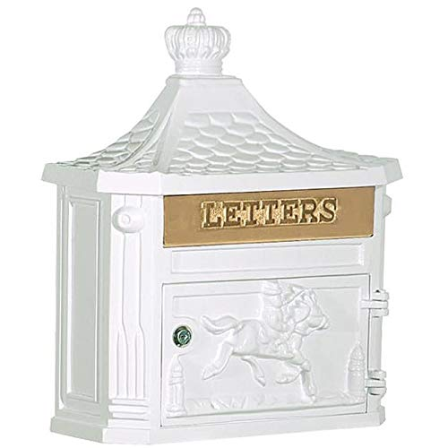 MISC Locked White Cast Aluminum Mailbox Wall Mounted Hanging Vertical Vintage Victorian Strong, Horse Themed