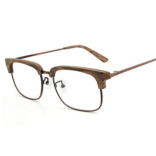 lunettes hommes les lunettes soleil sol bois Rétro femmes carré de protection Rimless unisexe de en soleil semi classique lunettes lunettes Rétro de conduite UV lunettes de soleil soleil de Marron pour plage 6AwPS