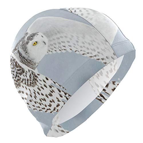 (Loveful Personalized Snowy Owl Swim Cap Waterproof Bathing Swimming Cap Solid Swim Hat for Men Women Adults Youths, 3D Ergonomic Design)
