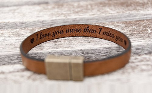 Hidden Message (Hidden Secret Message Leather Bracelet Personalized with Custom Quote Date or Coordinates with Strong Hypoallergenic Magnetic Clasp)