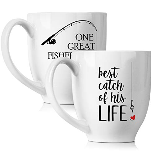 One Great Fisherman, Best Catch of His Life Coffee Mugs Set - Unique Wedding or Anniversary Gift for Couple - Funny His and Hers Cups - 15 oz -
