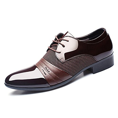 Seakee Mens Classic Breathable Oxford Lace-up Tuxedo Dress Shoes