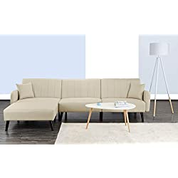 Divano Roma Furniture Mid Century Modern Style Linen Fabric Sleeper Futon Sofa, Living Room L Shape Sectional Couch with Reclining Backrest and Chaise Lounge (Beige)