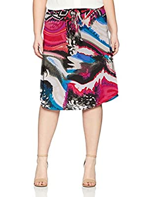 Star Vixen Women's Plus-Size Tie-Waist Ity Stretch A-line Mid-Length Skirt