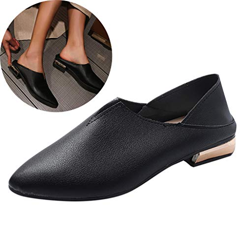 (Clearance! Swiusd Womens Pointed Toe Single Shoes Retro Low Heel Shallow Loafers Elegant Solid Color Leather Slip On Work Shoes (Black, 6 M US))