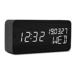 Raercodia Wooden Digital Alarm Clock Decorative Modern LED Desk Clock Display Time Date Week Temperature Sound Control Brightness Adjustable (Black,White)