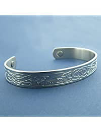 Stainless Steel Celtic Knotwork And Zoomorphic Design Bangle with Therapeutic Magnets