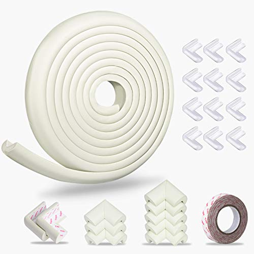 Baby Proofing Edge Corner Protector, Momcozy Child Safety Furniture Edge Bumper, Table Edge Guards, 16.4 ft Edge + 20 Corners, Pre-Taped Baby Safety Corners Cushion, High Elasticity(White)