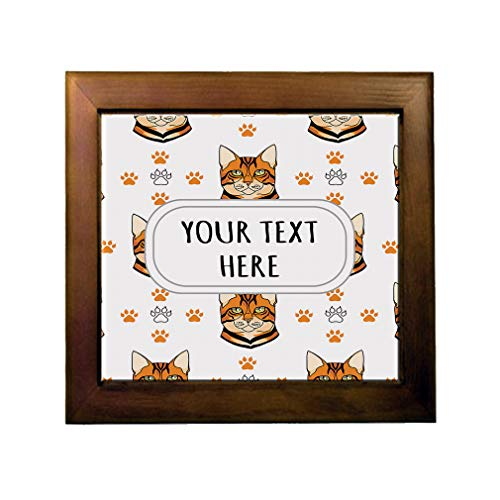 Ceramic Tile in Wood Frame Custom Tiger Cat Head Cat Paws Pattern Adults