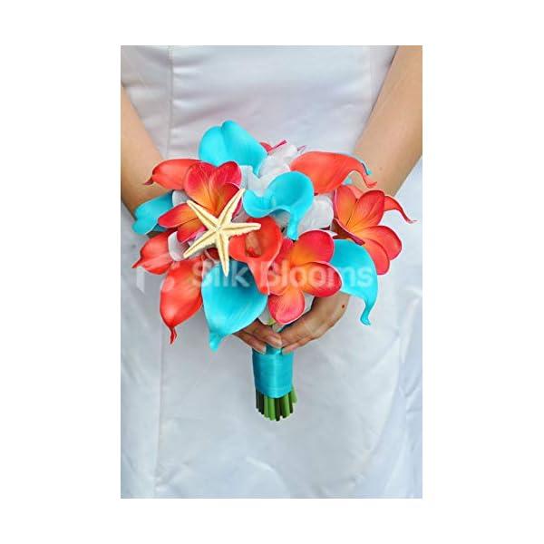 Silk Blooms Ltd Artificial Orange and Blue Calla Lily Bridal Bouquet w/Frangipanis and Hydrangea