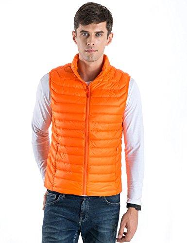 CHERRY CHICK Men's Ultralight Packable Down Vest (XL, Orange-YX)