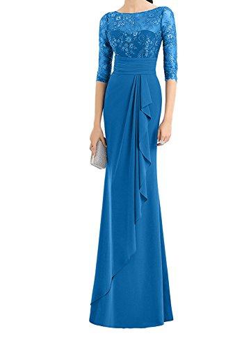 Hochwertig Abendkleider Etuikleider La Langarm mia Partykleider Spitze Blau Ballkleider Abschlussballkleider Braut wCXq41Xx7E