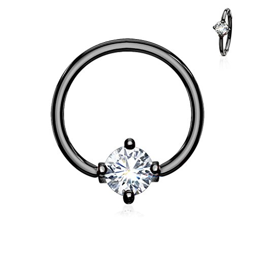 MoBody 16G-14G Round CZ Prong Set Captive Bead Piercing Ring Surgical Steel Ball Closure Septum Helix Cartilage Lip Piercing Jewelry (Black/Clear CZ, 16G (1.2mm) 3/8