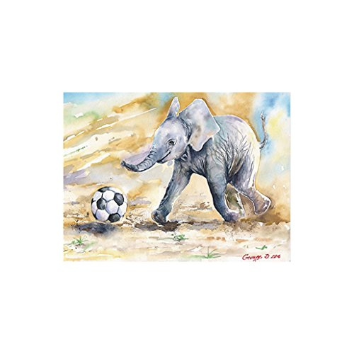 Price comparison product image wintefei Creative Little Elephant Soccer Picture Wall Painting Hanging Art Home Decor - 40x60cm