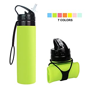 Collapsible Water Bottle, YUANFENG 20oz BPA-Free Leak-Proof Lightweight Silicone Sports Travel Camping Water Bottles (Fluorescent Green)