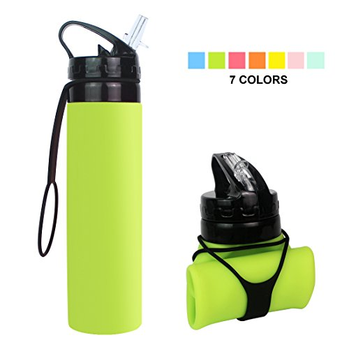 Fengyuan Collapsible Water Bottle, YUANFENG 20oz BPA-Free Leak-Proof Lightweight Silicone Sports Travel Camping Water Bottles (Fluorescent Green)