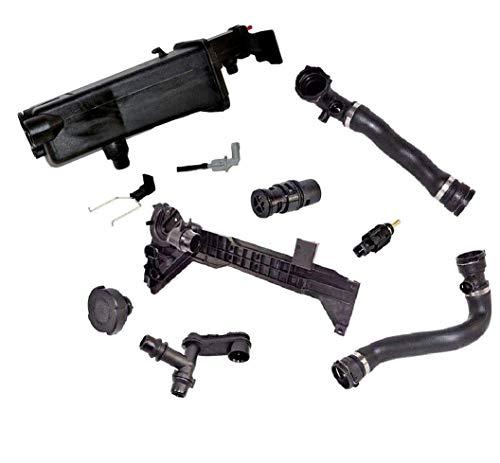Expansion Tank Cap Mounting Plate Connector Thermostat Hose Sensor Kit for BMW E46 Ci xi 323i 325i 328i 330i Premium 17117573781/1742231/1437362/1436251/1707817/7510952/11531436408/13621433077(10pcs)