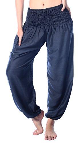Elephant Apparel - Boho Vib Women's Rayon Elephant Print Boho Harem Yoga Pants (Small/Medium, Solid Charcoal)