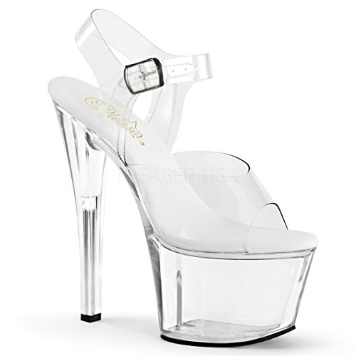 Pleaser Women's Sky308vl/C/M Platform Dress Sandal, Clear/Clear, 6 M US (Platform Stripper)
