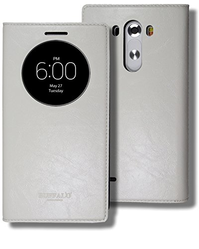 LG G3 Quick Circle Window Folio Case, LG G 3 Soft Leather View Flip Cover, 9 Colors - Retail Packaging (White)