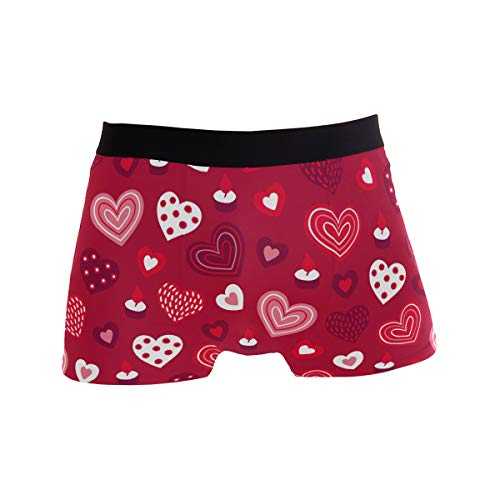 Valentine's Day Heart Red Boxer Briefs for Men Underwear Underpants Short Leg Trunks L