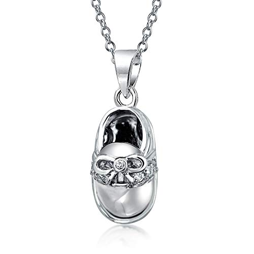 Baby Shoe Charm Pendant Necklace Saddle Shoe Gift For New Mother Women Engravable 925 Sterling Silver