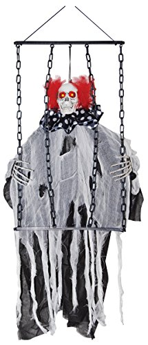Circus Scary (Animated Insane Hanging Clown with Chains Sound and Light Up Eyes Halloween Decoration)