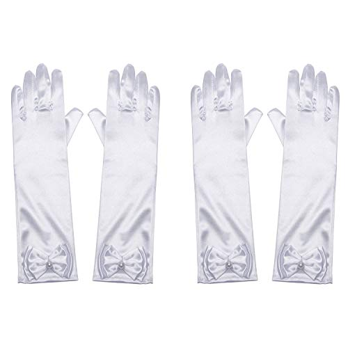 Little Girls Princess Gloves(Solid Color Long Elbow Length) For Birthday,Wedding,Holiday,Costume Party(White 2pcs) ()