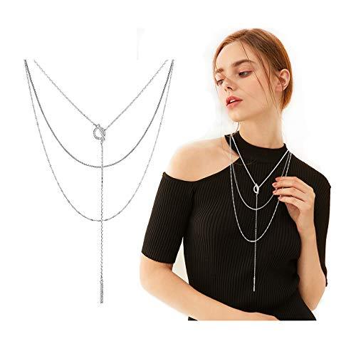 Seni Triple Layered Chain Necklace Rhinestone Bar Pendant Necklave Open Circle Y Choker Necklace (Silver)