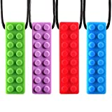 HOMCA 4 Pack Chew Pendant Training and Development Fidget Toy Chew Necklace for Teething Babies,Sensory,Oral Motor, Anxiety, Chew Toys for Autistic Children(Red,Blue,Green,Purple)