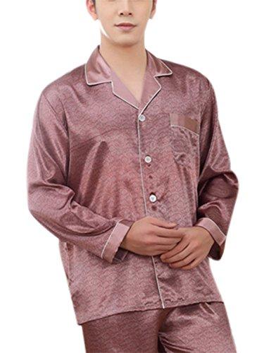 Yiwa Mens Luxury Charmeuse Pajama Thread Decoration Sleepwear Suit by Yiwa (Image #2)