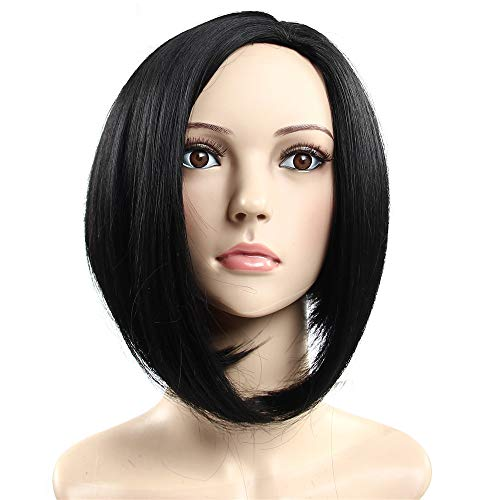 Black Women Straight Centre Parting Bob Wigs with Long Bangs Afro Wigs Black ()