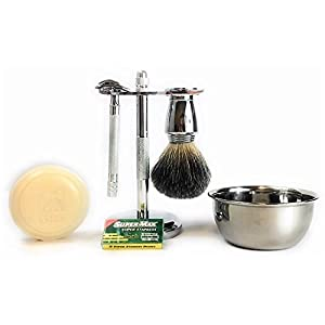 GBS Shaving Gift Set with Merkur Double Edge Safety Razor (23001), Chrome Bowl with Shaving Soap, GBS Badger Bristle Brush+ Blades Best Wet Shave Kit For your Grooming Needs