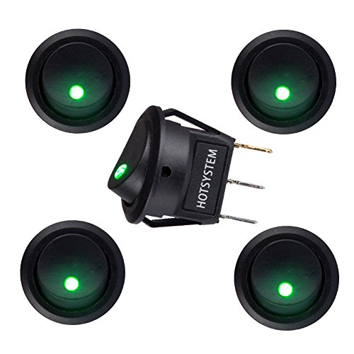 (HOTSYSTEM DC12V 20A Round Rocker Toggle Switch ON-OFF Control SPST LED Illuminated 3Pin Triangle Plug for Car Motorcycle Boat Marine Truck Trailer Auto and More (Green,5-Pack))