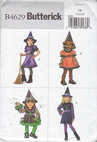 Butterick Sewing Pattern 4629 Toddler Girls Size 1-2-3 Easy Witch Costume Dress Hat