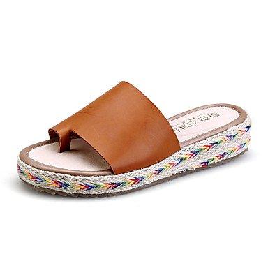 Women'szapatos Zapatillas de plataforma de microfibra / Redondo / Open Toe Toe sandalias vestido negro / Marr¨®n / Verde / Blanco US9 / EU40 / UK7 / CN41