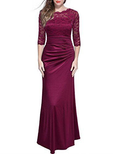 (Miusol Women's Retro Floral Lace Vintage 2/3 Sleeve Slim Ruched Wedding Maxi Dress Wine Red Large)