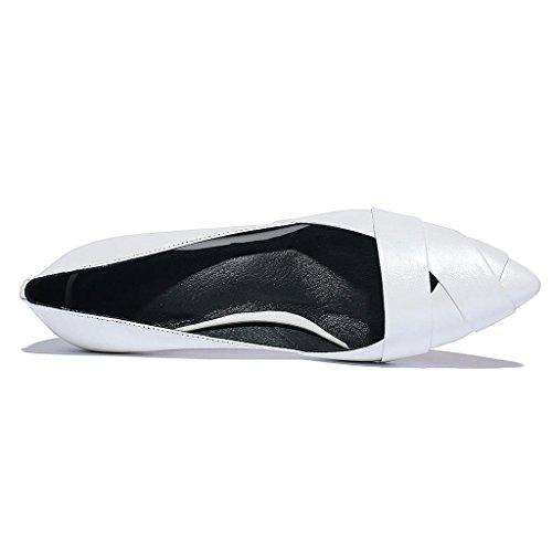 W&LMScarpe singole Femmina Ruvido con Tacco medio scarpa appuntito Bocca poco profonda Scarpe basse Cavo vera pelle Femmina White